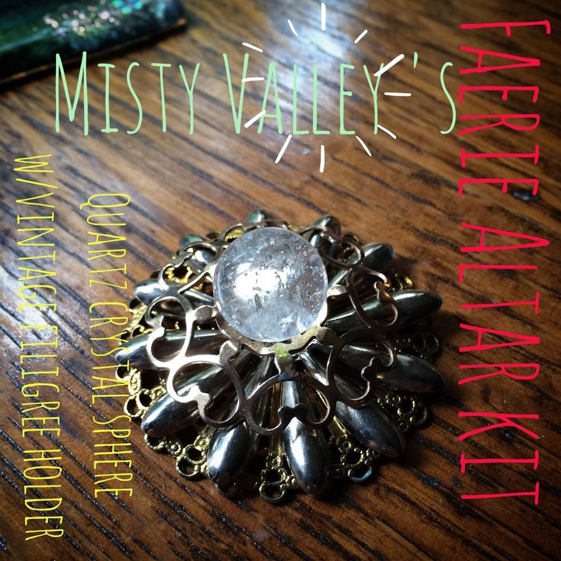 Misty Valley Faerie Altar Kit Quartz Crystal Ball and vintage filigree holder.